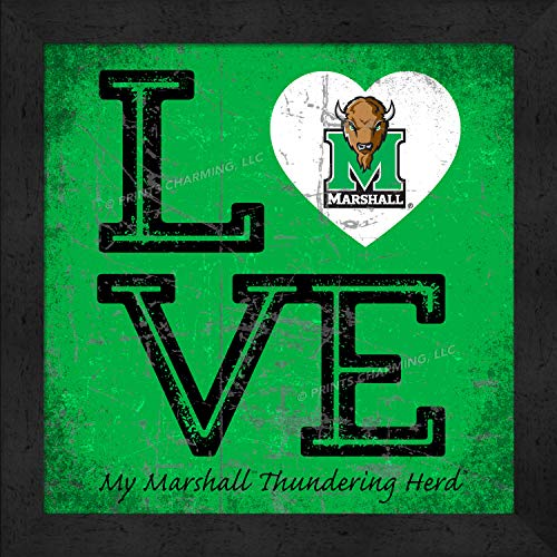Prints Charming College Love My Team Logo Square Color Marshall Thundering Herd Framed Posters 13x13 -