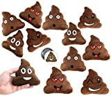 Emoji Poop Pillow Party Favors for 12 - 12 Small Emoji Pillows (5 inch) and 2 Emoji Pins, 1 inch- Super Cute Pillows for Birthday Parties, Great for Prizes, Decorations