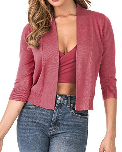 Nolabel [B7_034 Women's 3/4 Sleeve Cropped Open Front Draped Shawl Collar Bolero Cardigan Jacket (Rose/2XL) by Nolabel