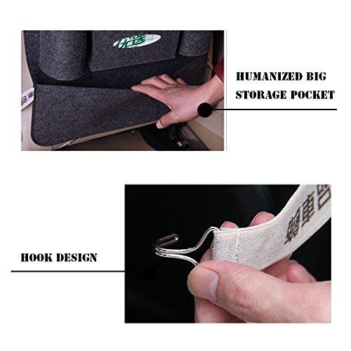 OurLeeme Seggiolino Auto Organizzatore//Viaggi di immagazzinaggio Bag//Auto sedile posteriore Organizzatore con la scatola del tessuto bevande Holder darkgray
