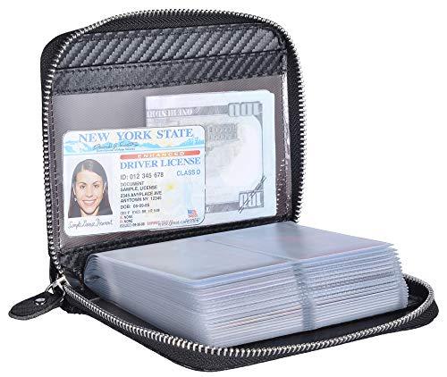 Yuhan Pretty Credit Card Holder Wallet Large Leather Passport Case 42 Card Slots (Carbon Fiber Leather - Black)