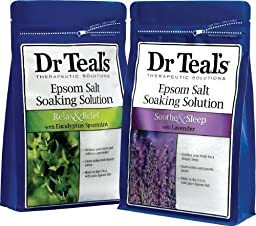 Dr. Teal\'s Epsom Salt Soaking Solution Bundle - 2 Relax & Relief Eucalyptus Spearmint 3lbs and 2 Sooth & Sleep Lavender 3lbs