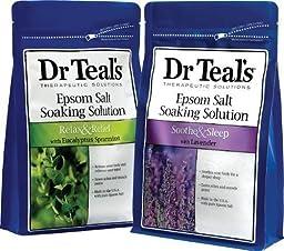 Dr. Teal\'s Epsom Salt Soaking Solution Bundle - 2 Relax & Relief Eucalyptus Spearmint 3lbs and 2 Sooth & Sleep Lavender 3lbs