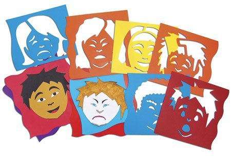Roylco Mix and Match Emotion Stencil, 8 X 8 in, Assorted Color, Set of 6 by Roylco