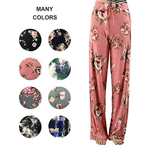 ZOOSIXX Pajama Pants for Women – Floral Print Drawstring Casual Palazzo Pants Wide Leg for Summer (L, Blush (Out Lounge Pants)