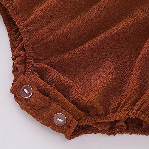 e5365bd0763d Babibeauty Twins Baby Girls Romper Infant Girls Ruffles Onesies Jumpsuit  Headband (Brown (Long)