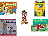 Children's Gift Bundle - Ages 3-5 [5 Piece] - Shrek Forever After Memory Game - Crayola Crayons 24 Count Toy - Plush Appeal Blue Tie Dye Arrow Plush 10.5