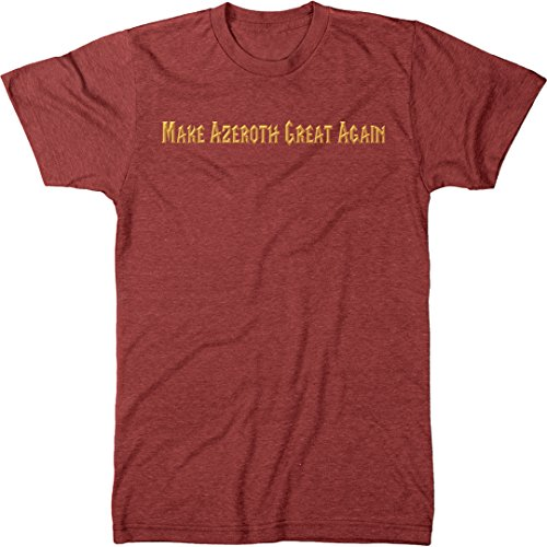 (Make Azeroth Great Again Men's Modern Fit Tri-Blend T-Shirt (Vintage Red, X-Large))