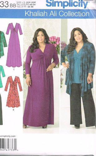 Simplicity Khaliah Ali Collection Pattern 1733 Women's Dress and Tunic with Variations, Cardigan, Pull-on Pants Sizes 20W-28W