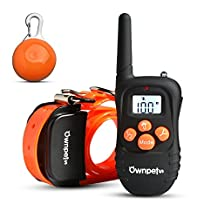 [Upgraded Vision] OWNPETS® Rechargeable 330 Yards Dog Shock Training Collar with Safe Beep, Waterproof Vibration and Shock Collar for Medium or Large Dogs