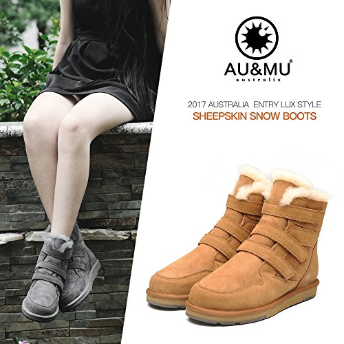 Au & Mu Aumu Womens Midfarm Snowboots Korte Winterlaarzen Chestnut 1