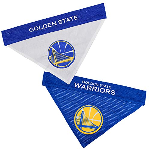 NBA Dog Bandana - Golden State Warriors Reversible PET Bandana. 2 Sided Home & Away Sports Bandana with a Premium Embroidery Team Logo, Large/X-Large. -