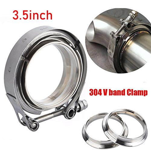 Flanged Hoop - Solovley Stainless Flange Hoop, 2-4 Inch SS304 V-Band Clamp Stainless Steel M/F 3 v Band Turbo Exhaust Downpipe, for Water Pipe, Plumbing, Automotive and Mechanical Application (D)