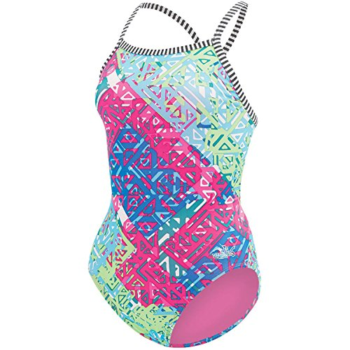 Dolfin WOMEN'S UGLIES ONE-PIECE V-2 BACK SWIMSUIT-9502L INDIO-FUSC/GRN SIZE 36 Back One Piece