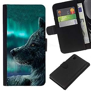Sony Xperia Z1 L39 C6902 C6903 C6906 C6916 C6943 , la tarjeta de Crédito Slots PU Funda de cuero Monedero caso cubierta de piel ( Wolf Blue Sky Wild Dog Animal Forest Fairytale)