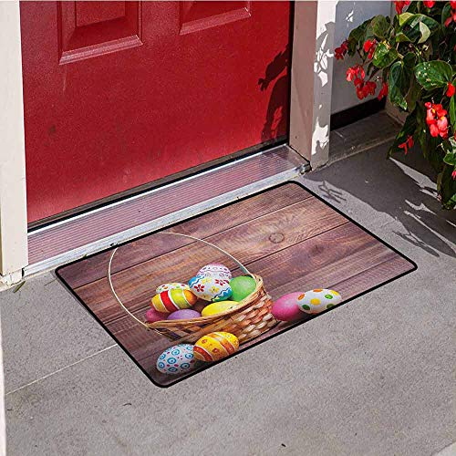 Gloria Johnson Easter Commercial Grade Entrance mat Colorful Eggs with Flowers and Polka Dots in a Weave Basket on Wooden Rustic Pattern for entrances garages patios W29.5 x L39.4 Inch Multicolor