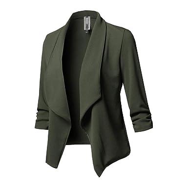 1e70bfbeb4c4 Hibote Frau Büro Blazer Lange Ärmel Falten Cardigan Blazer Mode Einfarbig  Geschäft Jacke Damen Freizeit Blazer
