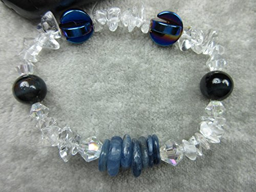 Genuine Eagle's Eye, Kyanite and Quartz Healing Bracelet Vitality Stamina Communication