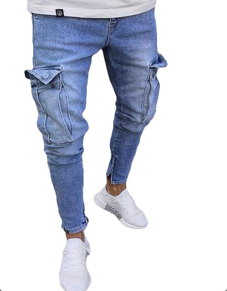 GRMO Men High Waist Skinny Washed Multi-Pocket Cargo Denim Pants Jeans