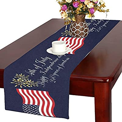 InterestPrint Independence Day USA Flag Cotton Table Runner Placemat 16 x 72 inch, American July of 4th Table Linen Cloth for Office Kitchen Dining Wedding Party Home Decor