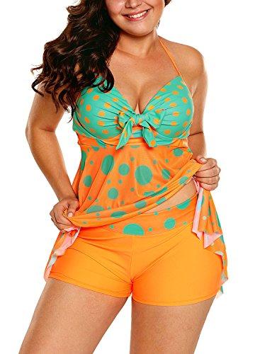 Sylaon Two Piece Women's Swimsuits Plus Size Tankini Set A-Tops Over Bottom Swimwear Bikini (US 8-10/M, - Brand 10 Top Goggles