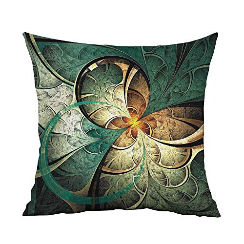 Fractal Microfiber Computer Art Featured Surreal Flowers Motif Dreamy Imaginary Creative Concept Sofa Cushion Cover Bedroom car Decoration W16 x L24 Inch Jade Green Gold