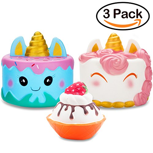 Cake Cute (R • HORSE Jumbo Narwhal Cake Squishy Kawaii Cute Unicorn Mousse Ice Cream Scented Squishies Slow Rising Kids Toys Doll Stress Relief Toy Hop Props, Decorative Props Large (3Pack))