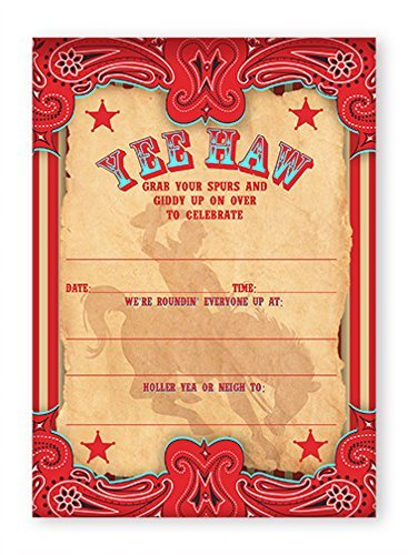 Amazon Com Cowboy Party Invitations 10 Invitations 10 Envelopes