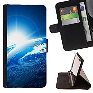 DEVIL CASE - FOR LG G2 D800 - Earth Blue Planet Sunshine Space View - Style PU Leather Case Wallet Flip Stand Flap Closure Cover