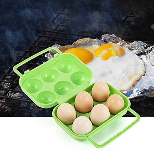 Saying Egg Holder Refrigerator Storage Container, 6 Egg Tray, Egg Storage Box with Cover (Green) by Saying (Image #1)