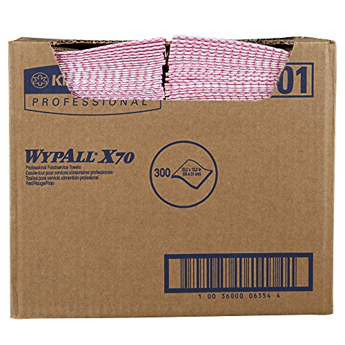(WypAll 06354 X70 Wipers, 12 1/2 x 23 1/2, Red (Box of 300))