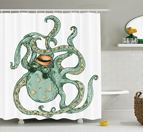 ambesonne-octopus-decor-collection-cartoon-hipster-octopus-with-hat-sketch-art-illustration-sea-crea