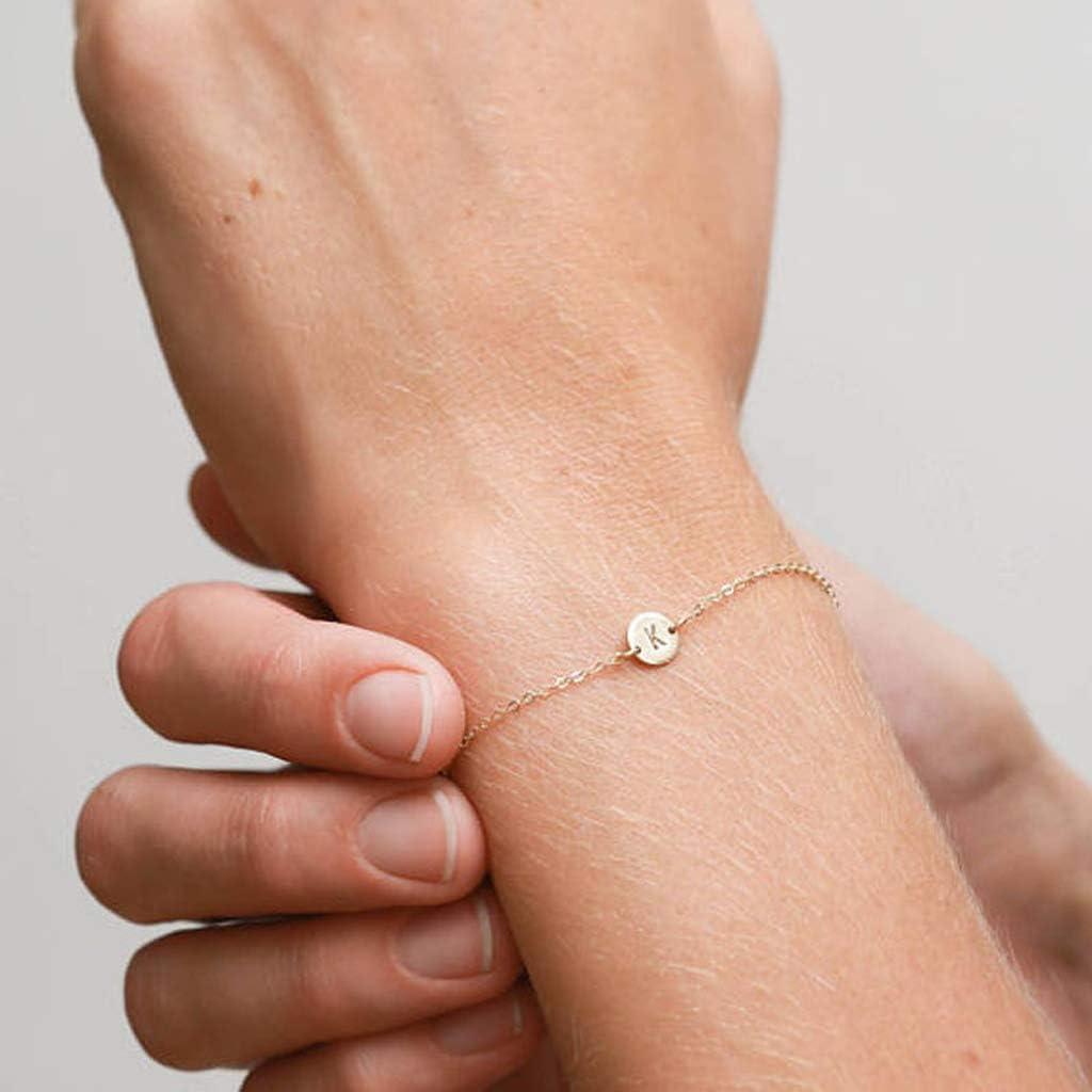 YUYAN Alphabet lettre initiale disque Bracelet personnalis/é or A /à Z amiti/é Bracelet