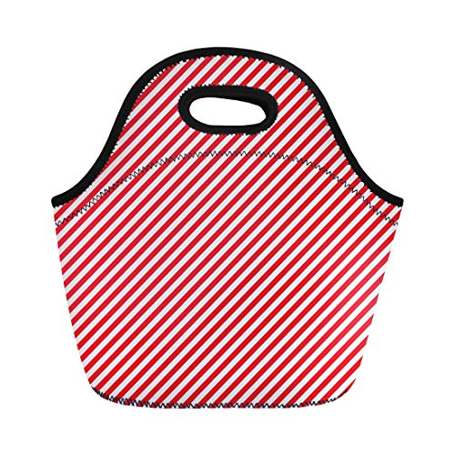 Semtomn Lunch Tote Bag Red Peppermint Diagonal Stripe Navy Candy Pattern Cane Abstract Reusable Neoprene Insulated Thermal Outdoor Picnic Lunchbox for Men Women