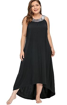 7967e61a2e1 MERRYA Women s Plus Size Halter Sequin Tunic Summer Hi-Lo Maxi Dress Size  14 Plus