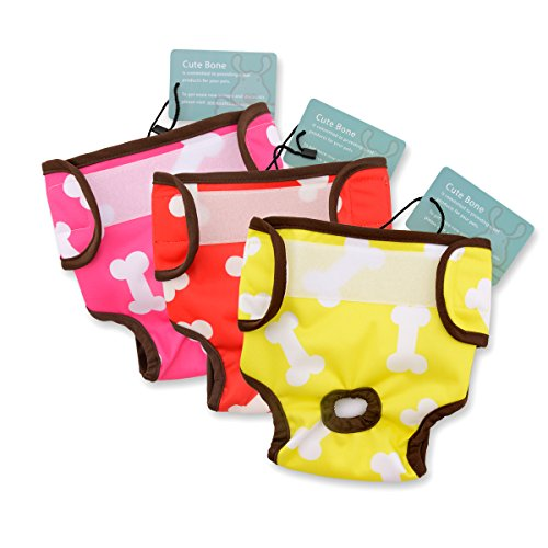 CuteBone 3 PCS Dog Diaper Female Washable diapers for dogs Durable Doggie Diapers pants diaper for large dogs D05 (Doggie Pant)
