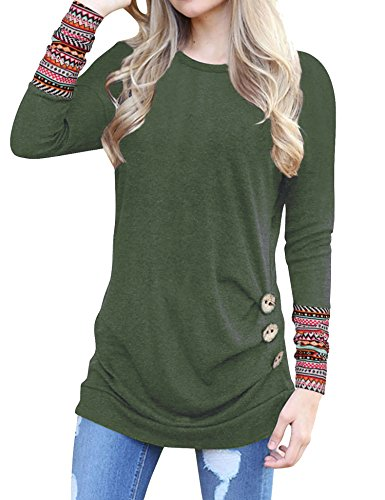 Oyamiki Women Casual Long Sleeve Knitted Raglan Shirts Pullover Sweater Tops with Pocket Army Green/S