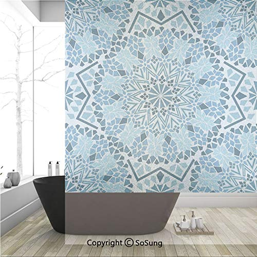 (3D Decorative Privacy Window Films,Moroccan Architecture Consists of Geometrically Patterned Mosaic and Stars Eastern,No-Glue Self Static Cling Glass film for Home Bedroom Bathroom Kitchen Office 36x4 )