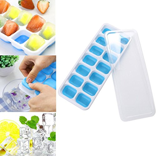 (Vanvler Ice Cube Tray, 1Pc Covered Ice Cube Tray Set With 14 Ice Cubes Molds Flexible Silicone Plastic Stackable (blue))