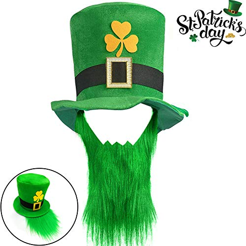 St. Patricks Day Hats, St. Patricks Day Costume Shamrock Green Velvet Top Hat with Beard for Men Women St. Patricks Day Hat Party Favors Leprechaun Costume Accessories for Adults Irish Holiday Gifts -