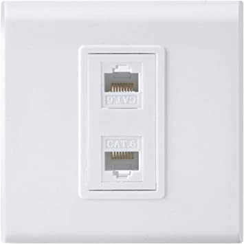 Placa frontal de pared de red Ethernet RJ45 con placa de pared – doble (2 puertos) RJ45