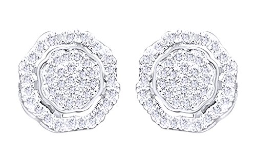 10K Solid White Gold Round Cut Diamond Hip Hop Cluster Stud Earrings (0.60 Cttw) by wishrocks
