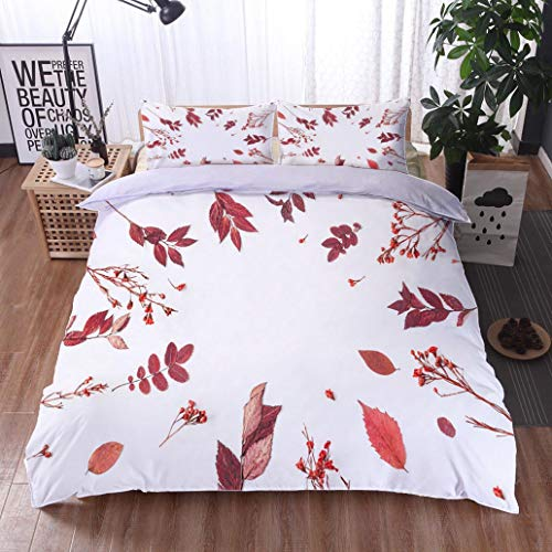 HOOMORE Bed Comforter - 3-Piece Duvet -All Season, Frame Made of Autumn Flowers Leaves Flat Lay top View,HypoallergenicDuvet-MachineWashable -Twin-Full-Queen-King-Home-Hotel -School