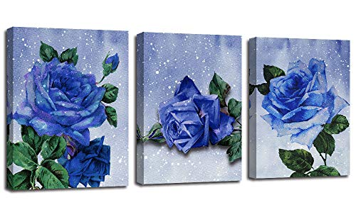Canvas Wall Art Prints Blue Rose Modern Abstract Flowers Painting Watercolor Framed 12