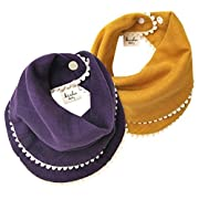 kishu baby Girl Bibs 2-pk Purple and Mustard Pom Pom Bib Gift Set for Girls, Multicolor, One Size