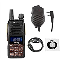 Baofeng Pofung GT-5 Two-Way Radio Transceiver, Dual Band VHF/UHF 136-174/400-520MHz, Voice Companding + 1 Programming Cable +1 Dual PTT Speaker Mic