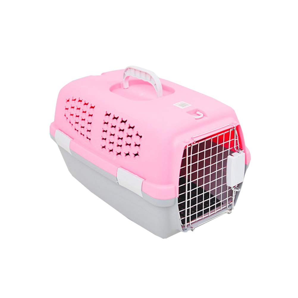 POPETPOP 54x35CM Pet Dog Carrier Box Portable Aircraft Transport Collapsible Cats Dog Carrier Checked Out Box Small Cat Dog Carrier - Medium(Pink)