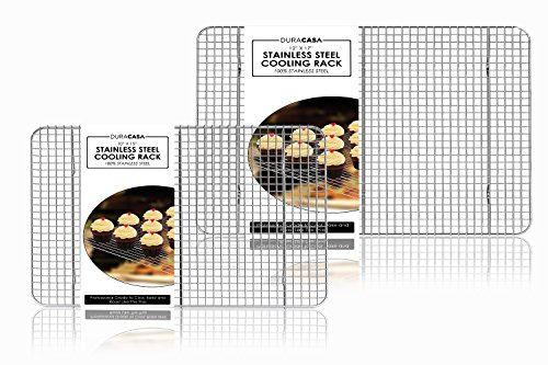 """Baking Rack - Cooling Rack - Stainless Steel 304 Grade Roasting Rack - Heavy Duty Oven Safe, Commercial Quality Cooling Racks For Baking - Metal Wire Grid Rack Design (1-10""""x15"""" and 1- 12""""x17"""")"""