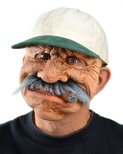 [Zagone Between Jobs Mask, Old Man with Mustache & Cigar] (Old Man Halloween Mask)