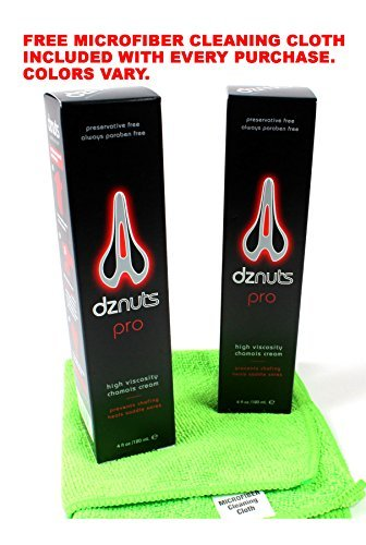 2-Pack of DZNUTS Pro Chamois Cream 4oz tubes with Free Microfiber Cloth by dznuts (Image #1)